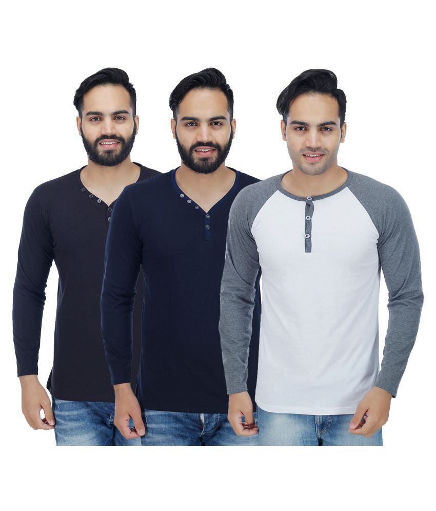 Candy House Multi Henley T-Shirt Pack of 3