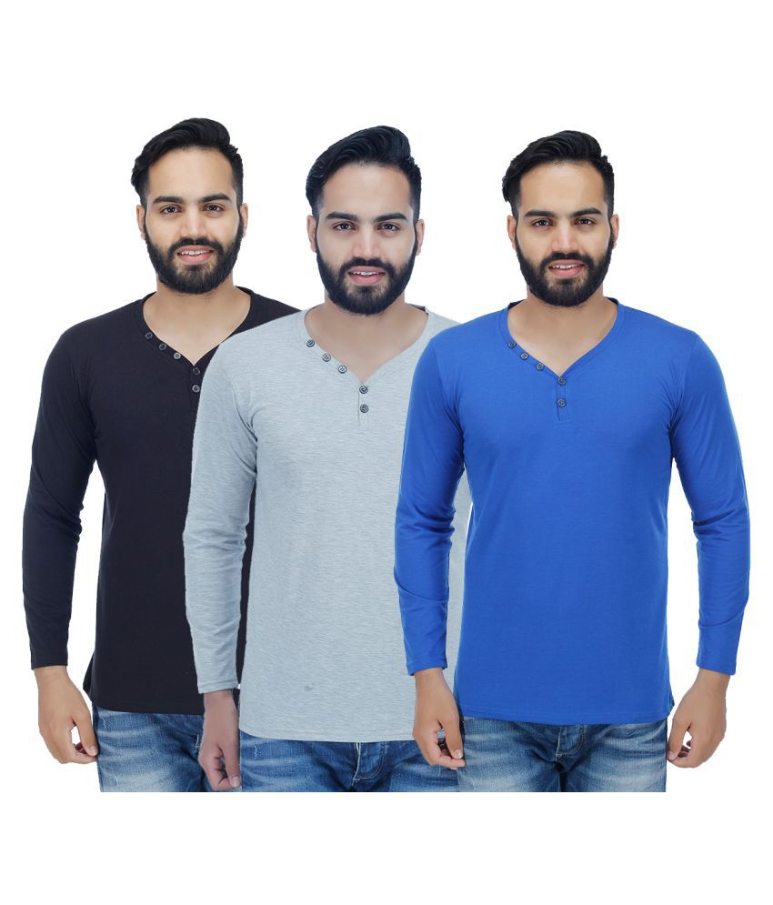 Christy's Collection Multi Henley T-Shirt Pack of 3