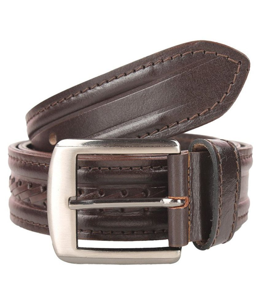 Leatherwala Brown Leather Formal Belts