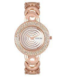 LOREM LR202 Rose Gold Diamond Studded Metal Bracelet Analog Watch For Girls & Women