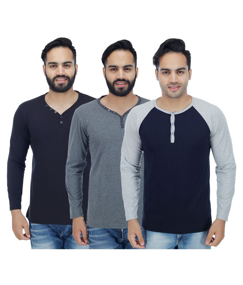 Rakshita's Collection Multi Henley T-Shirt Pack of 3