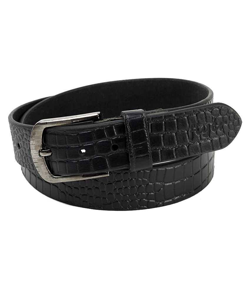 Flyer Black Leather Casual Belts