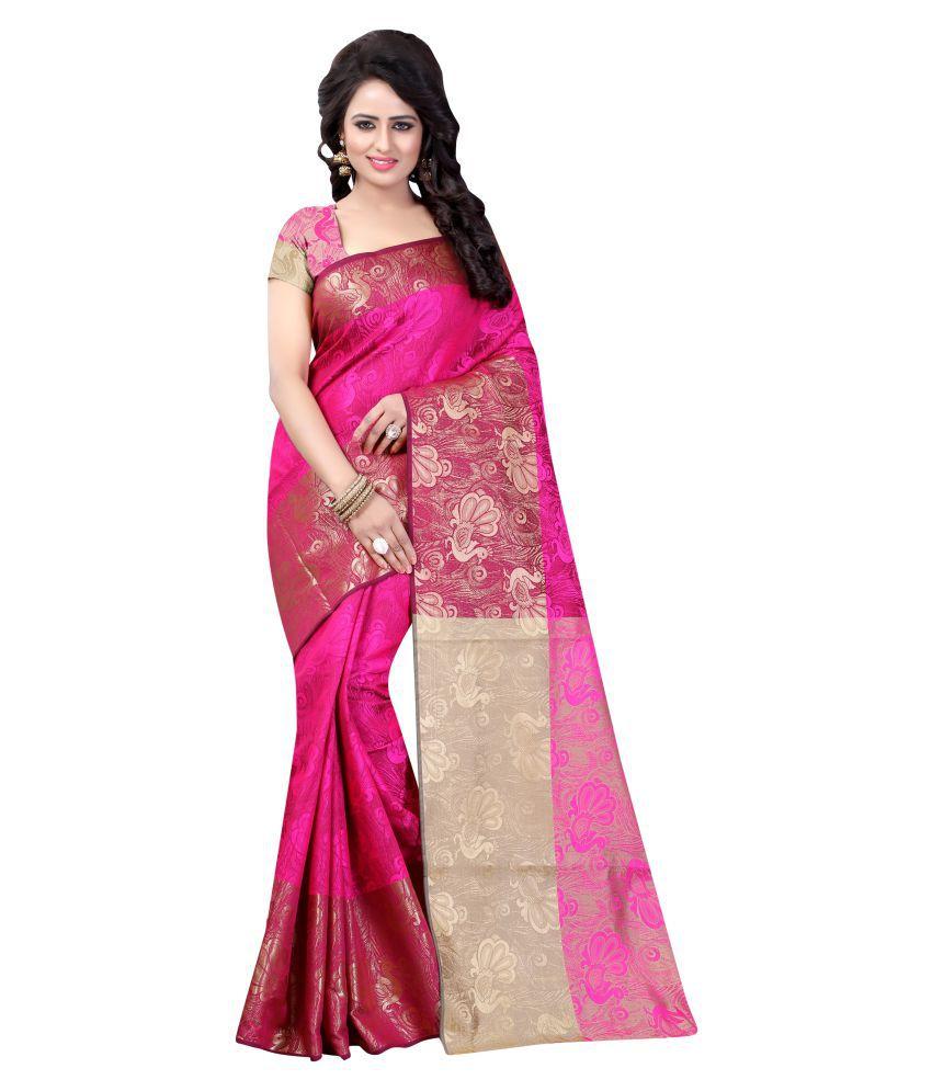 Hardik Nathabhai Kathiriya pink Cotton Silk Saree
