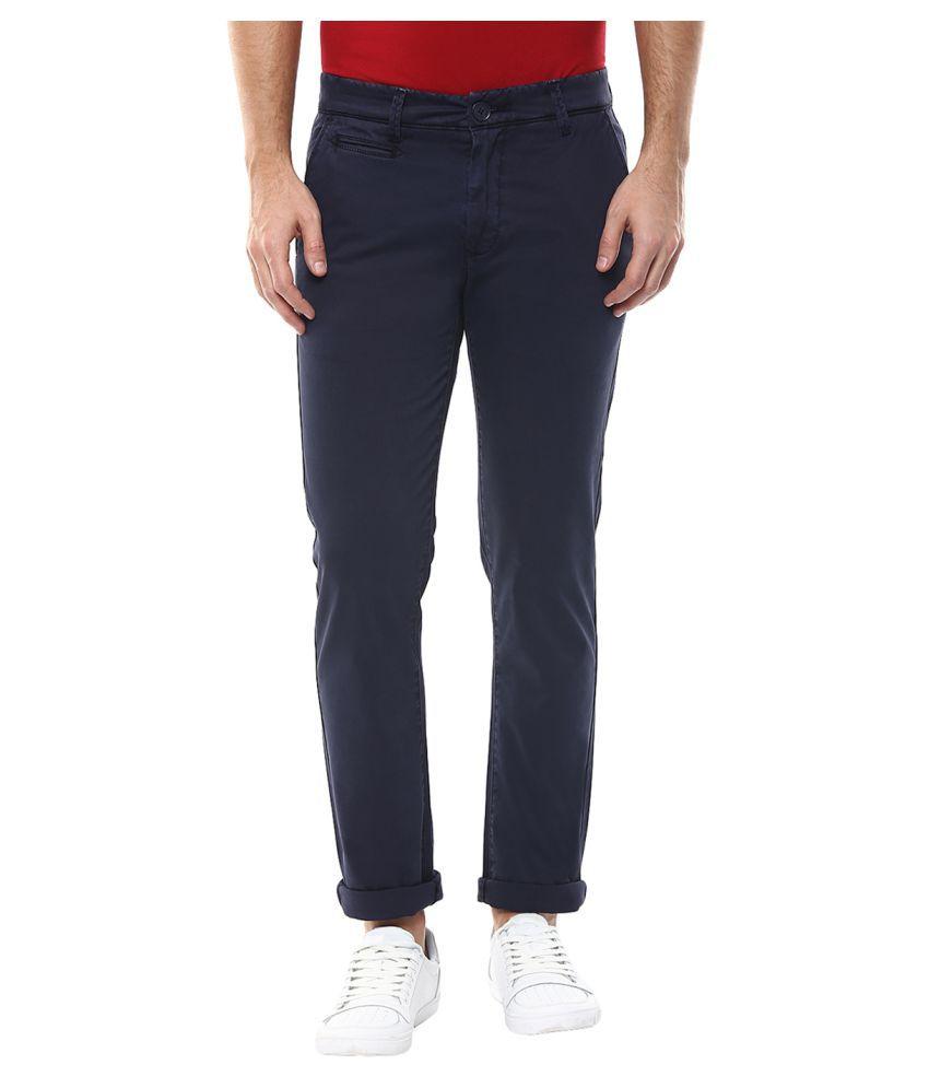 Spykar Blue Slim -Fit Flat Chinos