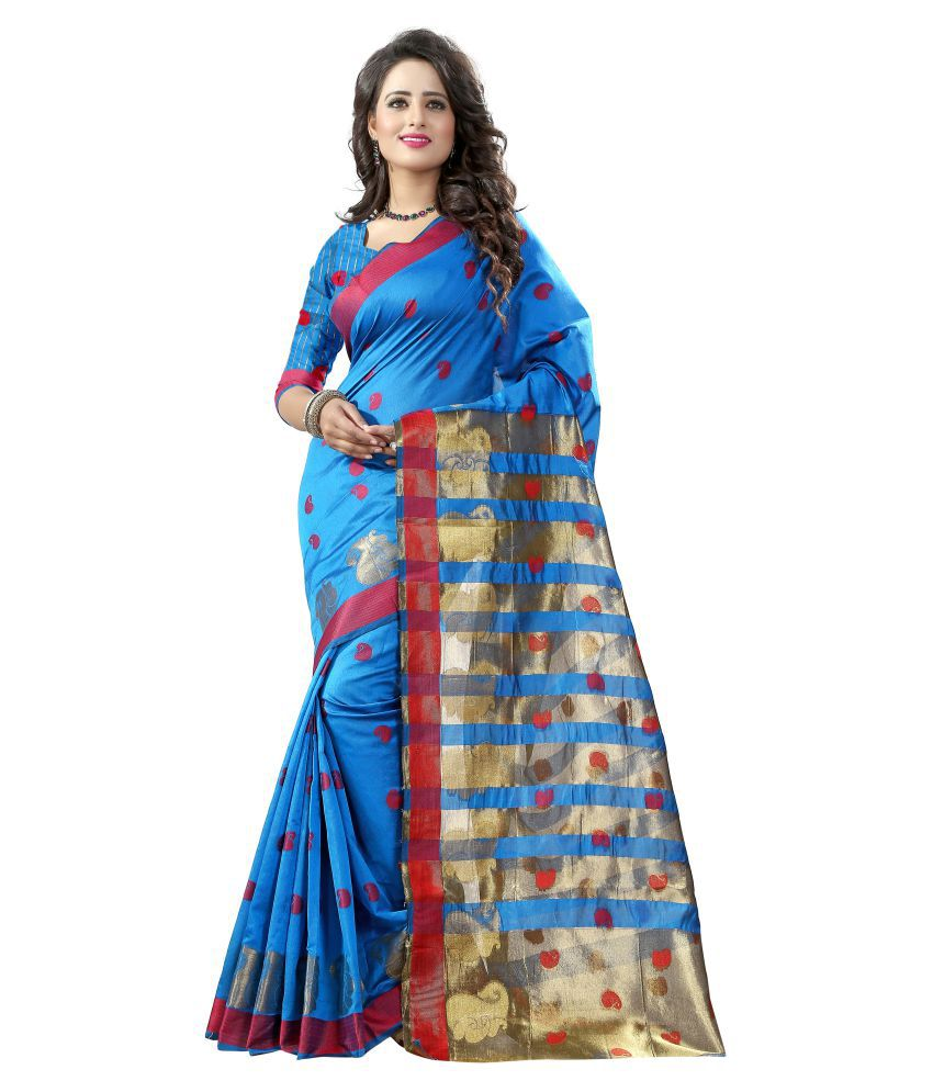 Greenvilla Designs Blue Polycotton Saree