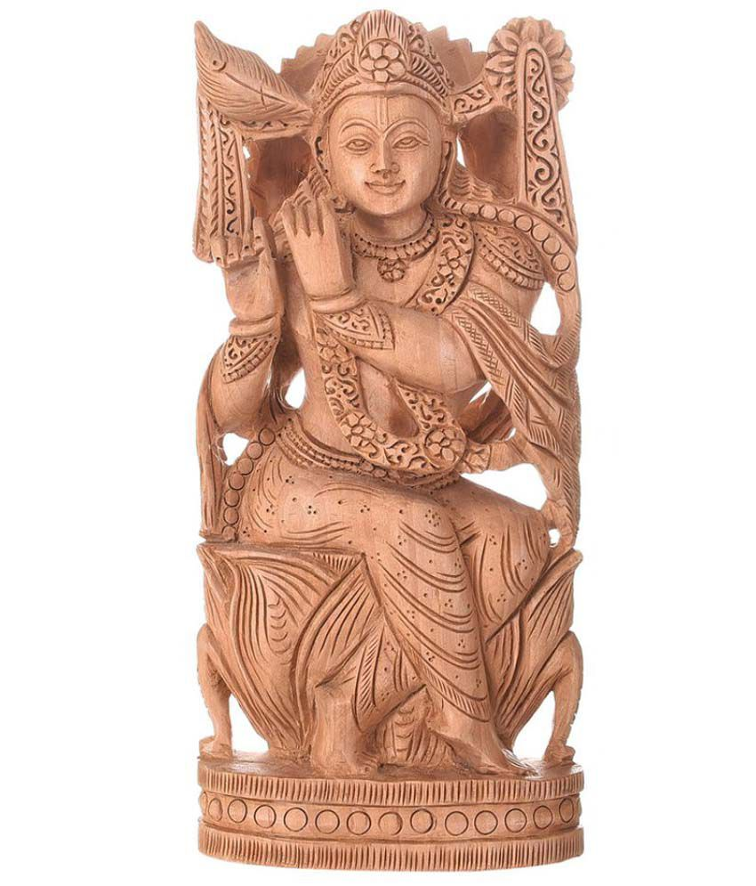 Artistic Handicrafts Krishna Wood Idol