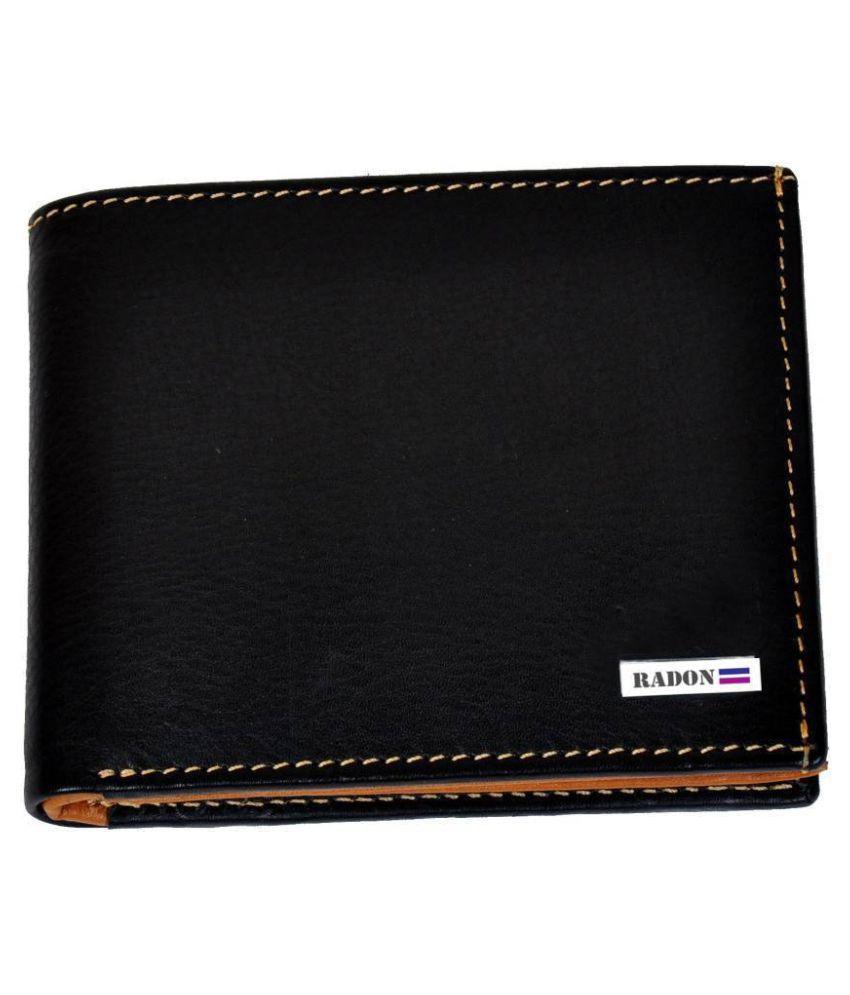 Radon Leather Black Formal Regular Wallet