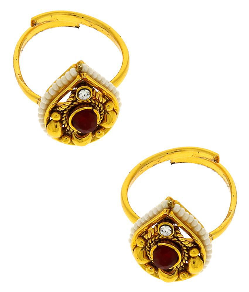 Anuradha Art Golden Colour Drop Shape Styled With Maroon Colour Stone Toe Ring For Women
