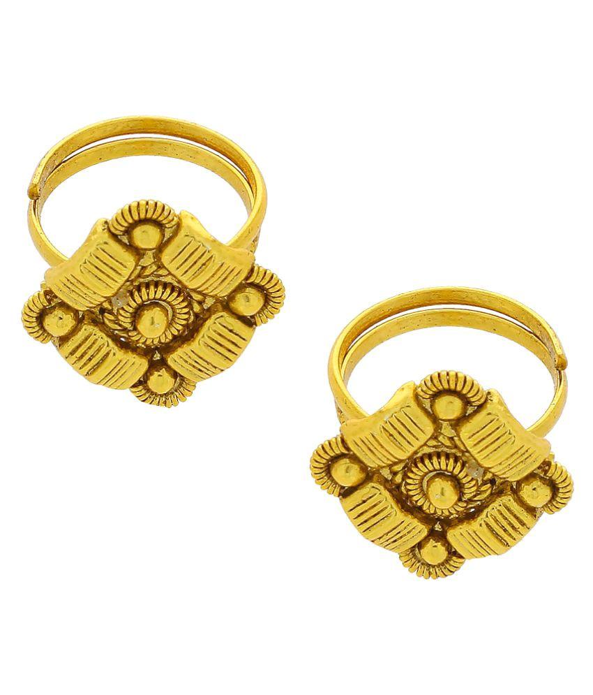 Anuradha Art Golden Finish Designer Classy Toe Ring For Women