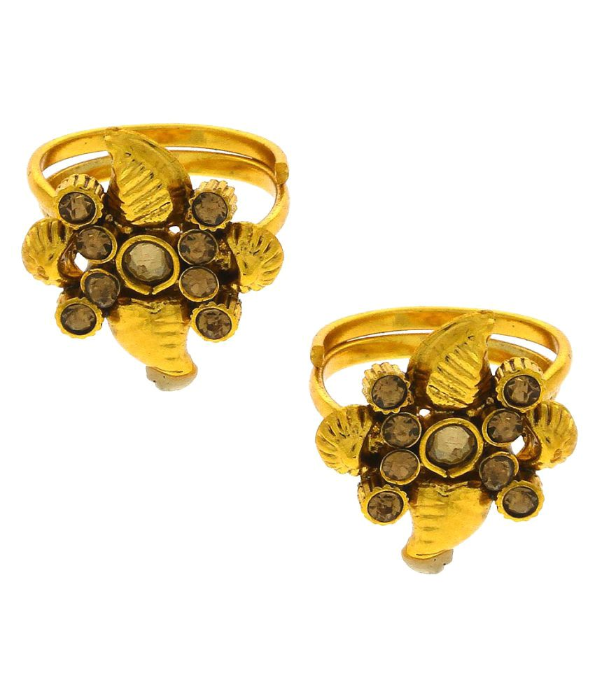 Anuradha Art Golden Finish Studded With Golden Sparkling Stone Traditional Toe-Ring For Women/Girls