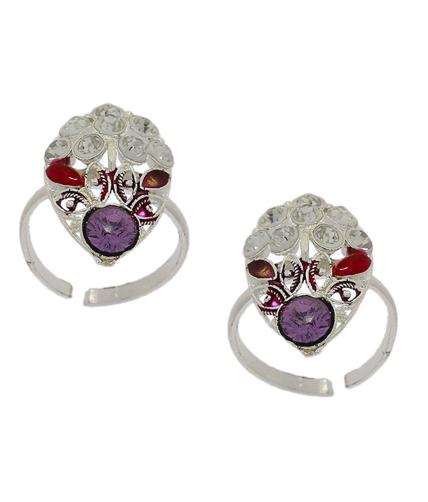 Anuradha Art Silver Finish Designer Multi Colour Designer Shimmering Stone Toe Ring For Women