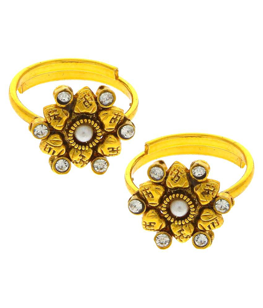Anuradha Art Golden Finish Very Creative Delicate Toe Ring For Women