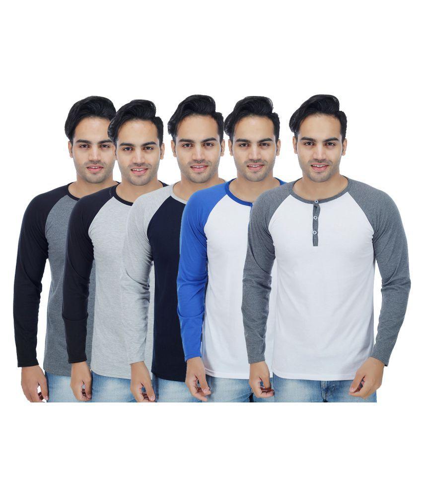Christy World Multi Henley T-Shirt Pack of 5