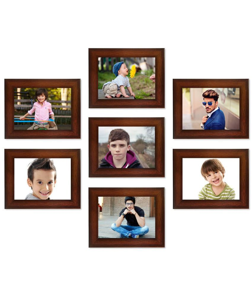 SwadesiStuff MDF Wall Hanging Brown Collage Photo Frame - Pack of 7
