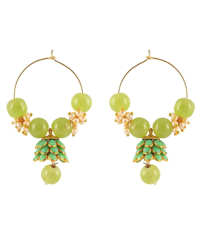 PANASH LIGHT GREEN PACHCHIKARI BEADS EARRING
