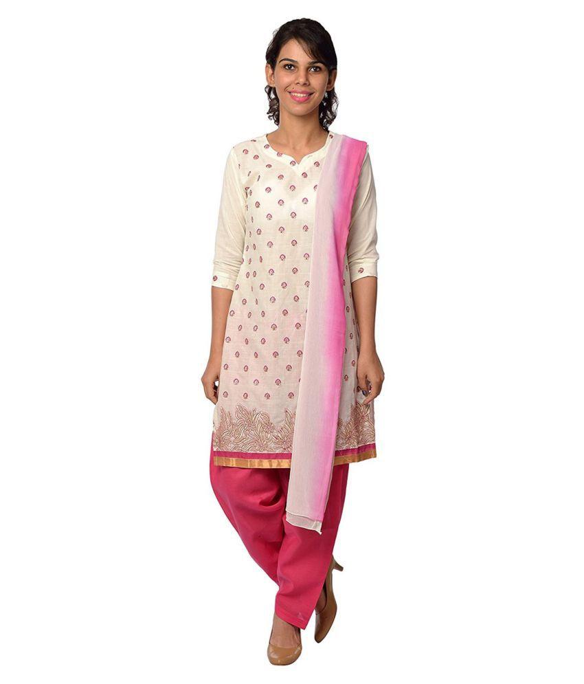 Lamara Off White Cotton Straight Stitched Suit