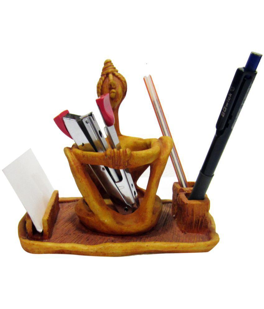 Earth Brown Resin Pen Holder - Pack of 1