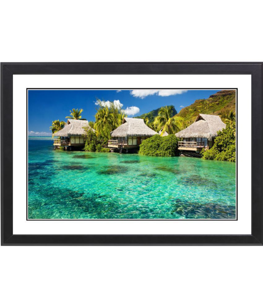 Craftsfest Beautifull Sea Beach MDF Painting With Frame- (30cmX20cmX1.5cm)