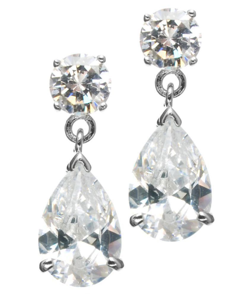 Kiara 92.5 Silver Cubic zirconia Drop Earrings