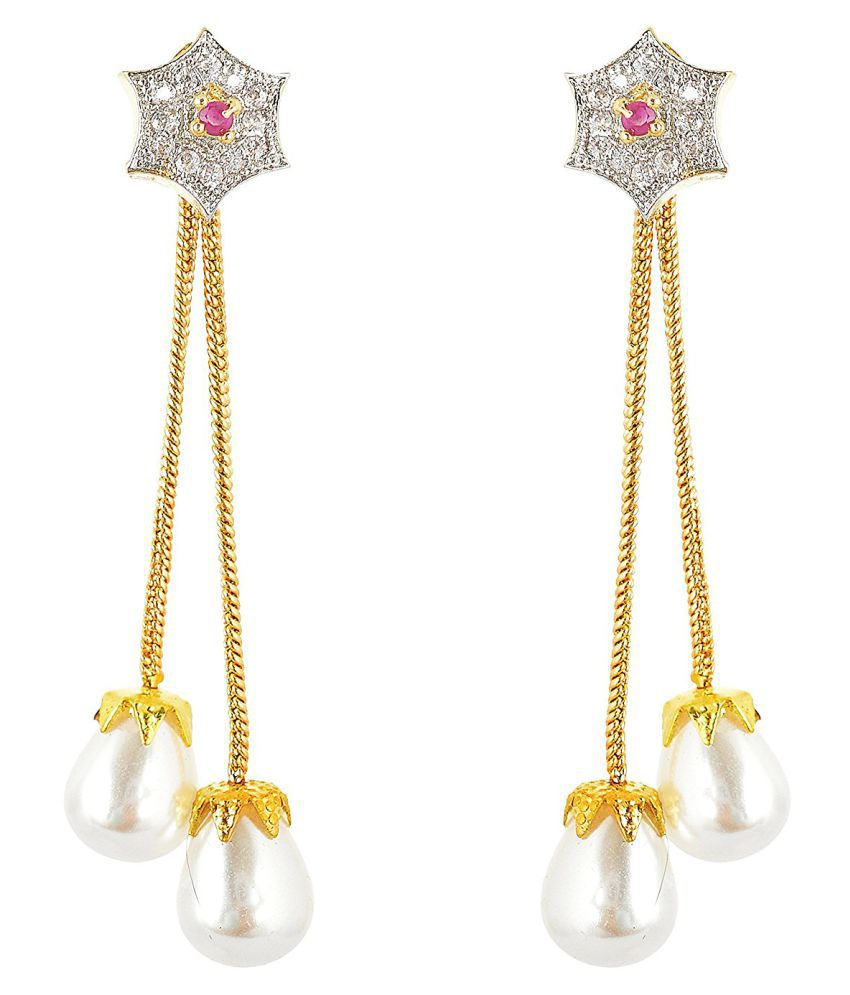 Ratnavali Jewels Golden with White Metal American Diamond CZ Pearl Dangle & Drop Earrings for Women (rv663)