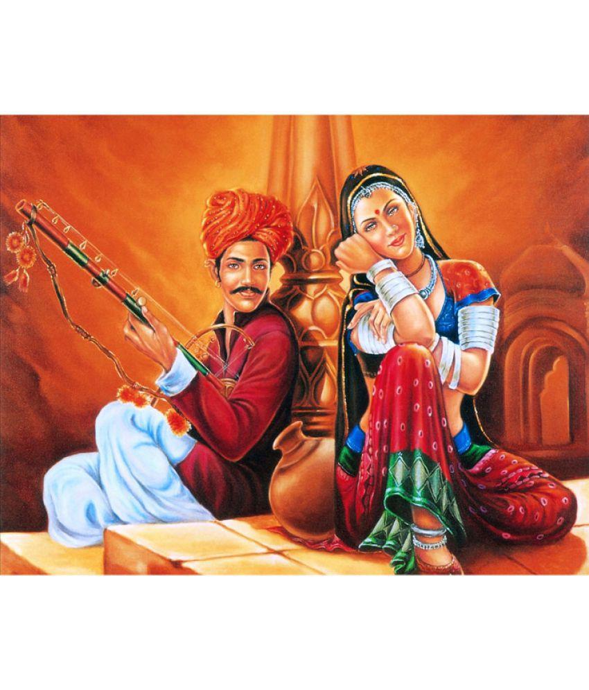 Mukesh Handicrafts Rajasthani Village Canvas Art Prints Without Frame