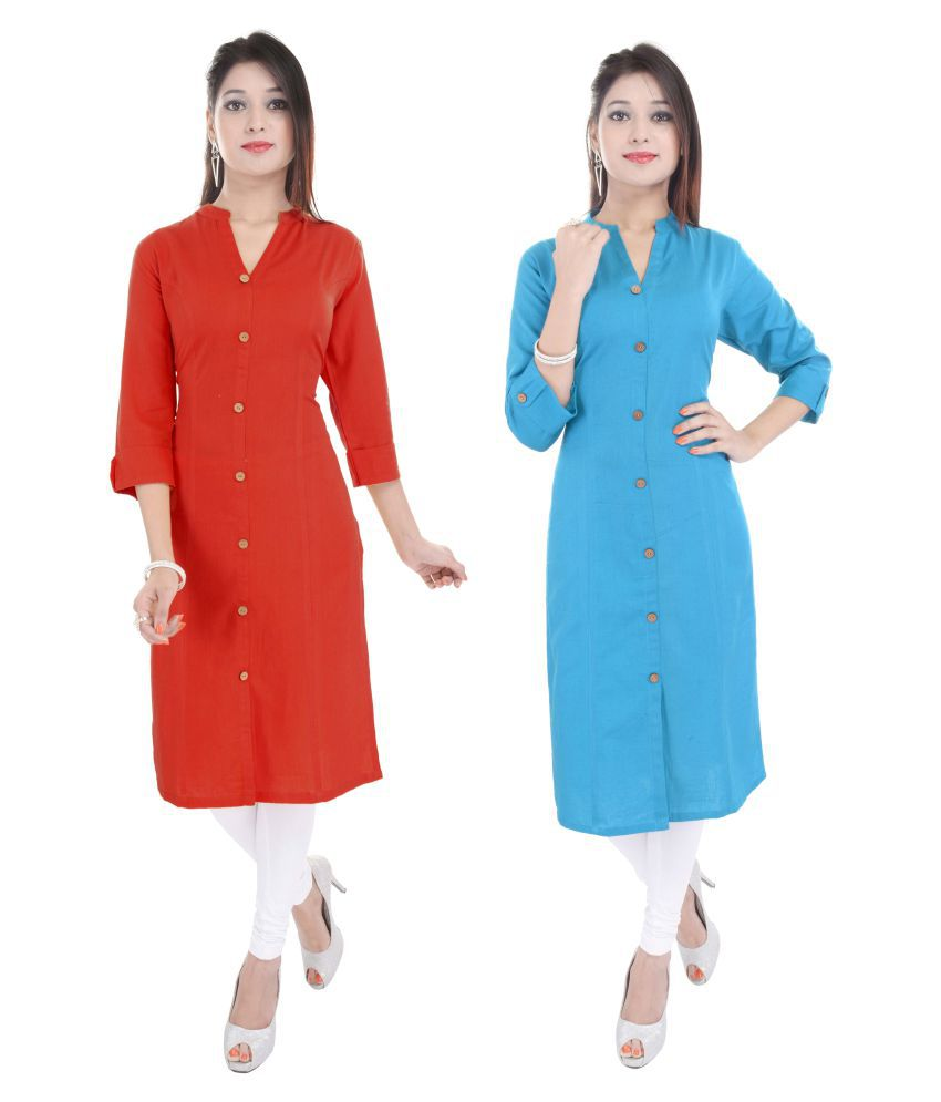 Marino Pure Cotton Kurtis ( Pack of 2) ( Color- Red,Blue)