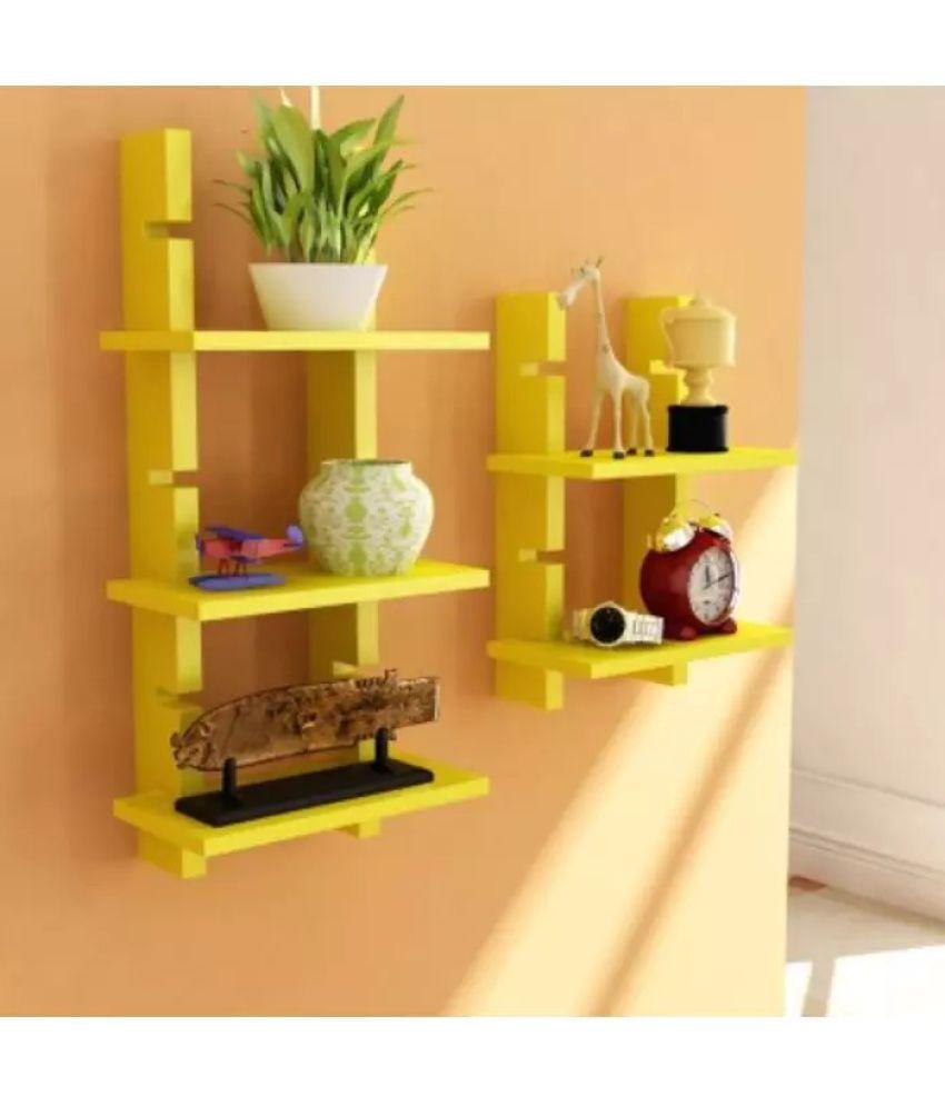 Onlineshoppee Floating Shelf/ Wall Shelf / Storage Shelf/ Decoration Shelf Yellow - Pack of 2