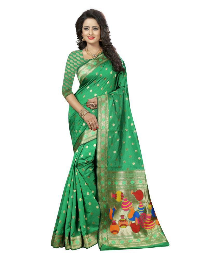 KAD Creations Green Banarasi Silk Saree