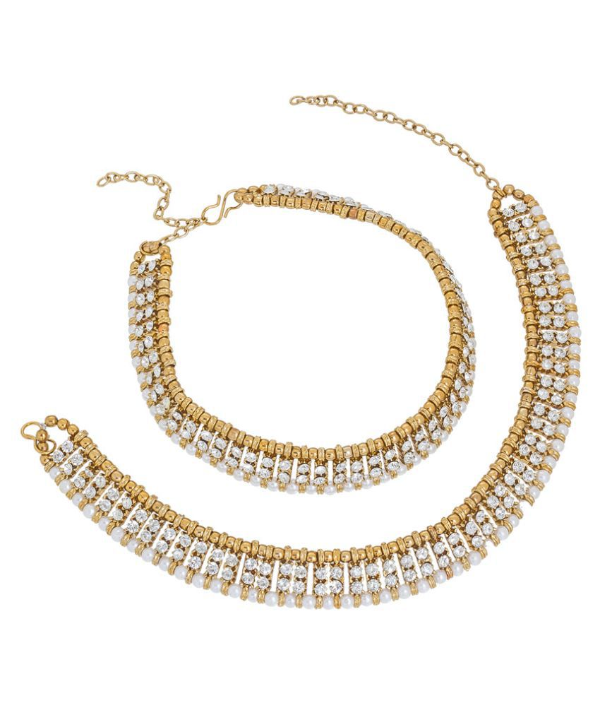 The Luxor Designer White And Golden Beautiful Anklets