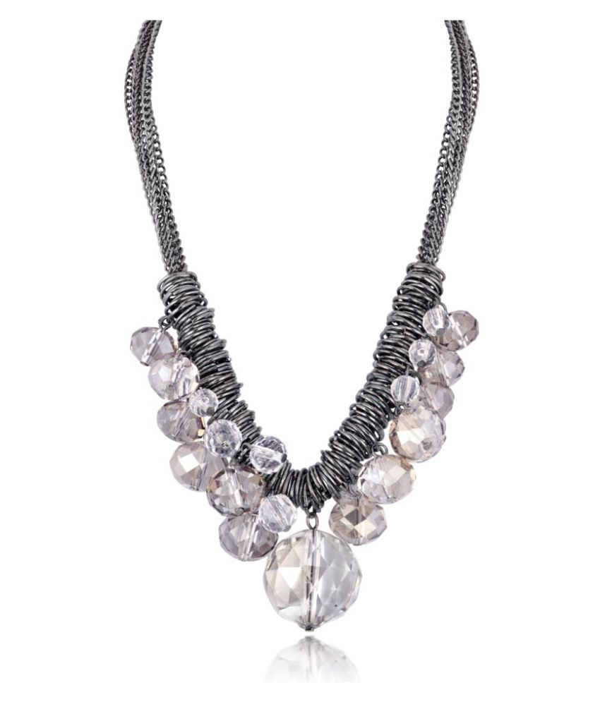 Spargz Rhodium Plated Party Wear Oval Shape Cluster Chain Necklace For Women ALML_5006