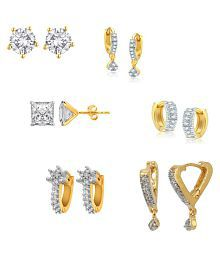 Zeneme Combo Precious collection of Gold plated Hoop Earrings Jewellery For Women / Girls
