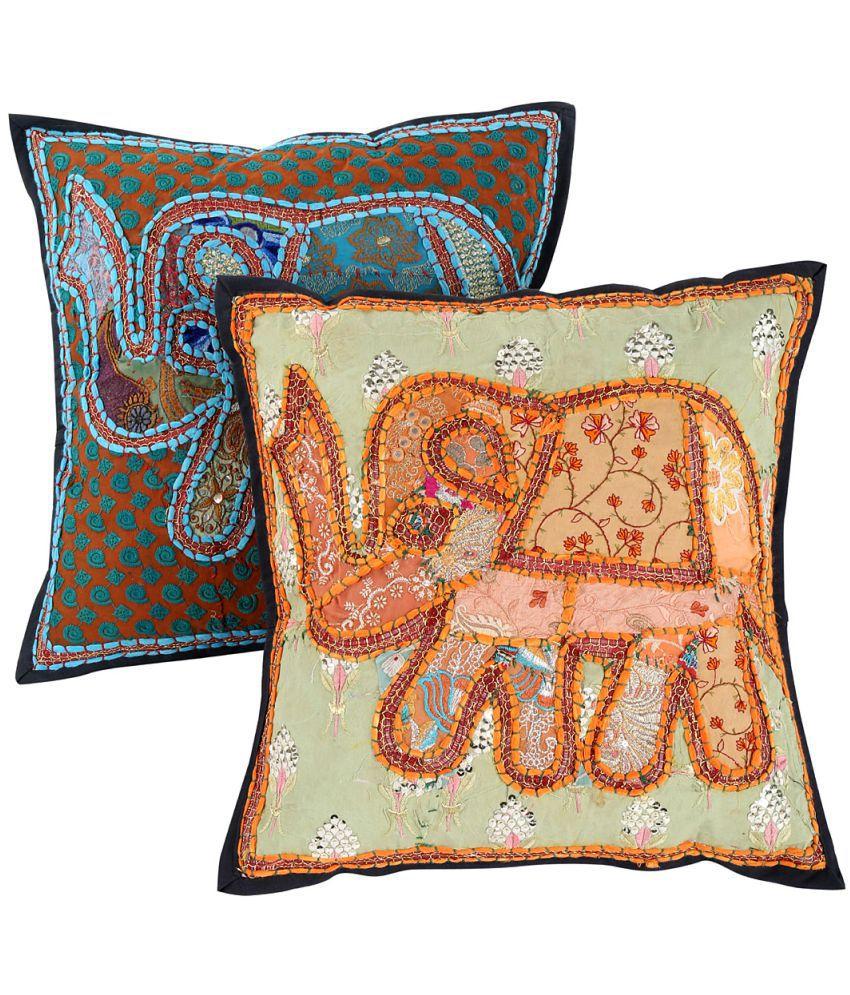 Rajrang Set of 2 Cotton Cushion Covers 40X40 cm (16X16)