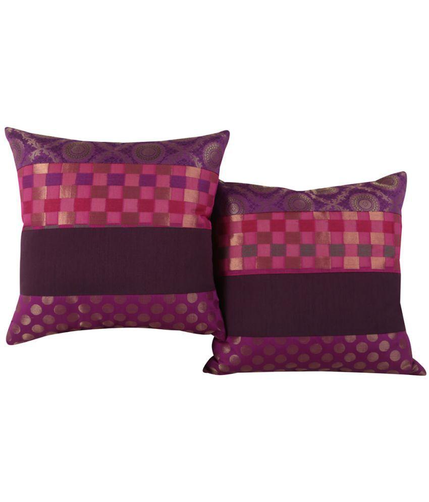 Rajrang Set of 2 Polyester Cushion Covers 40X40 cm (16X16)