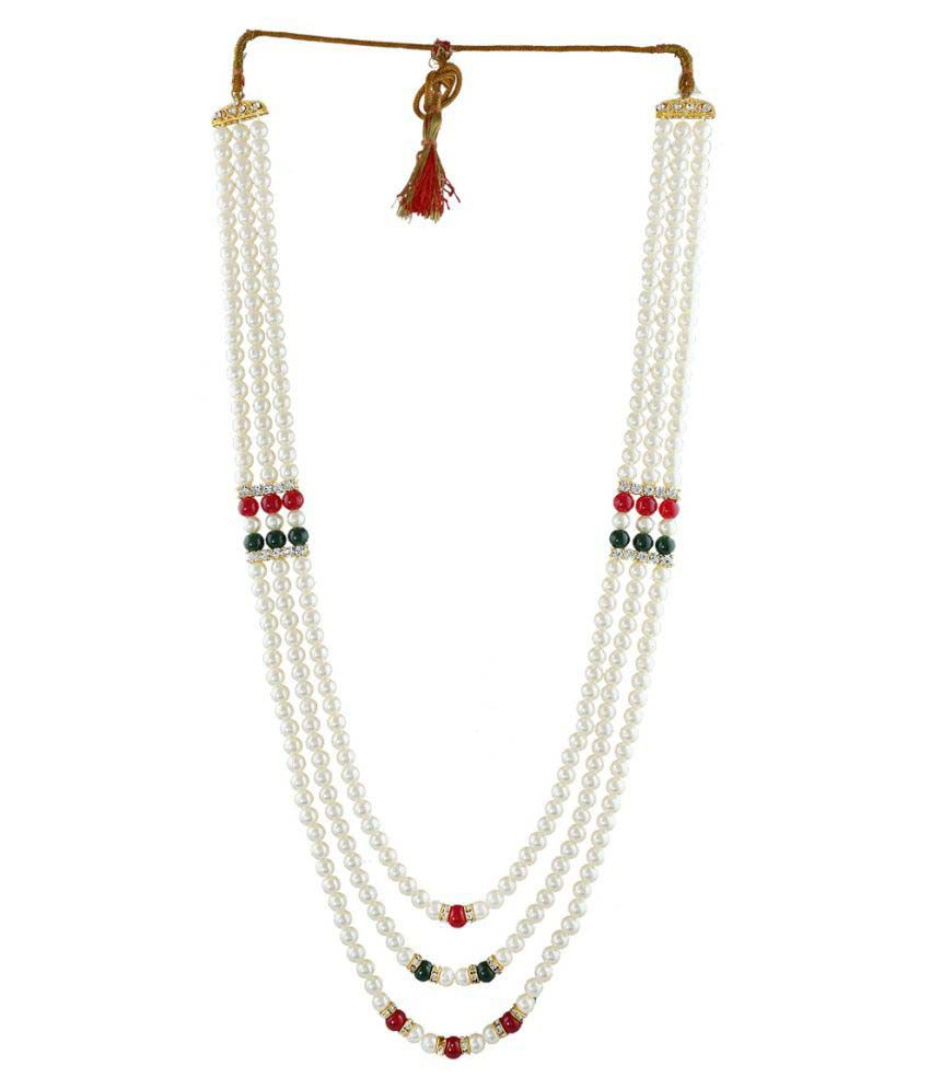 Anuradha Art Golden Finish Very Classy Rich Look Necklace Groom Moti Mala For Men