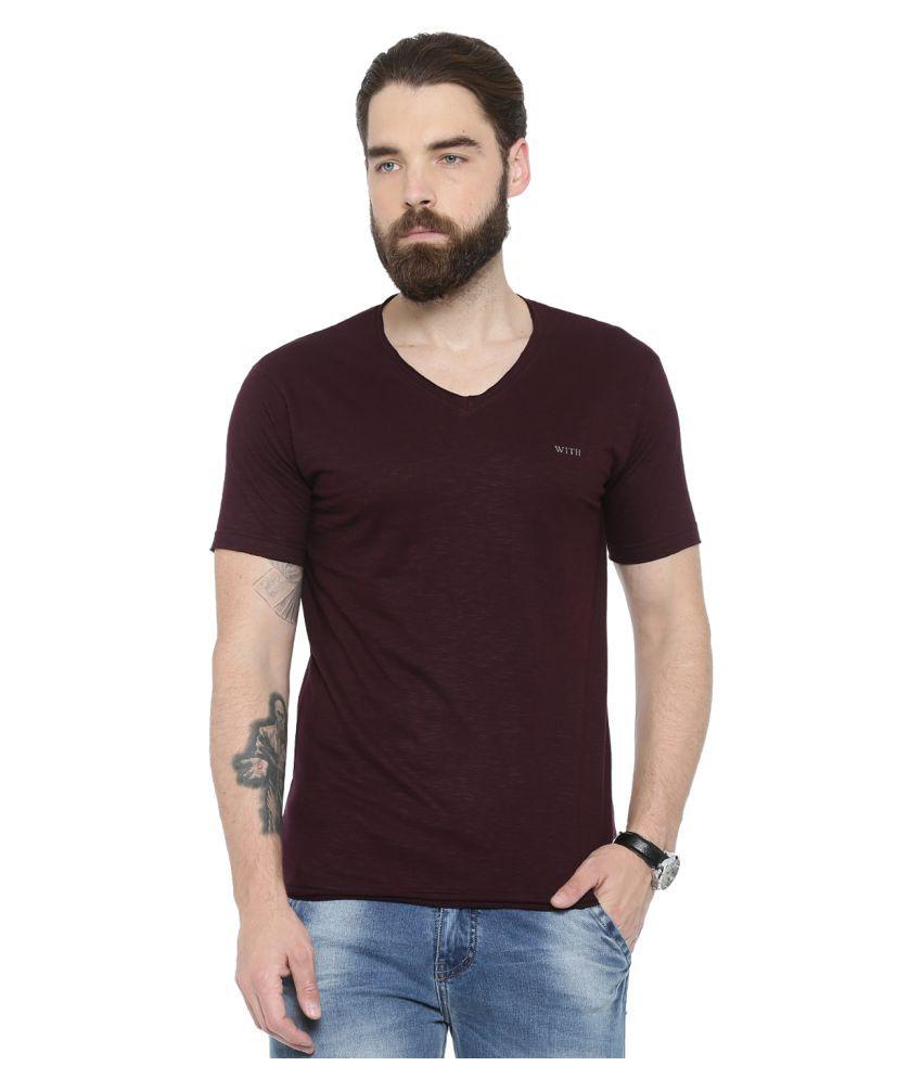 Showoff Maroon V-Neck T-Shirt