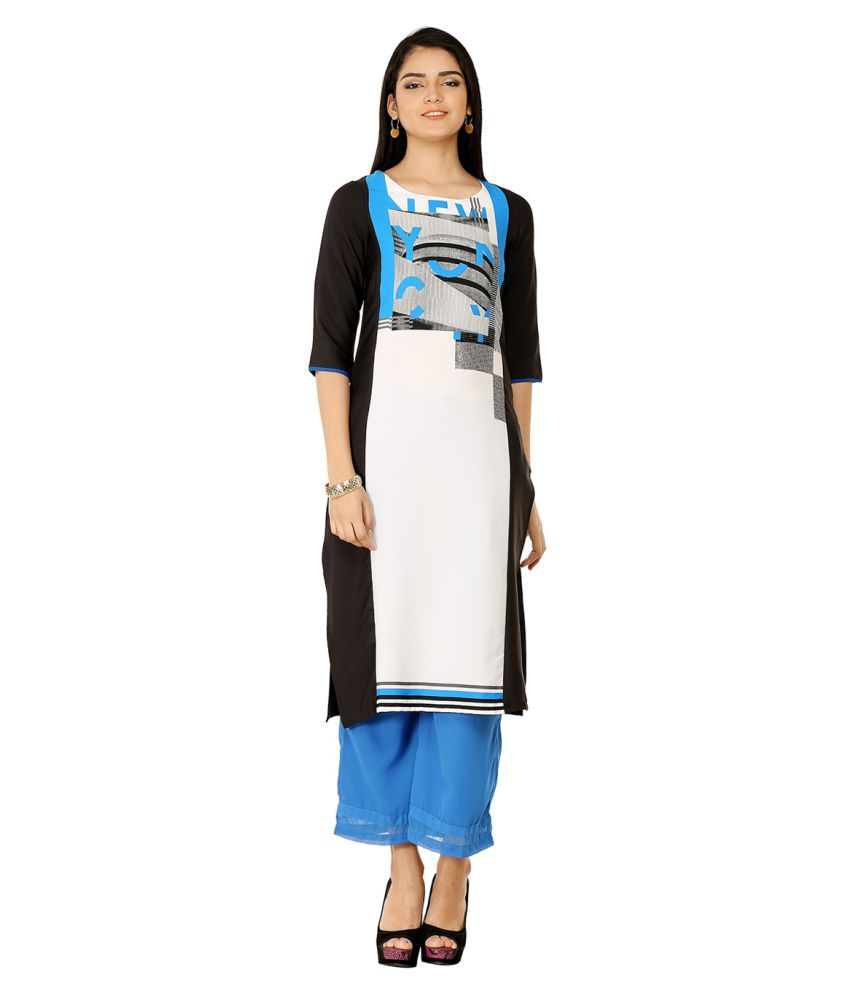 W Multicoloured Polyester Straight Kurti