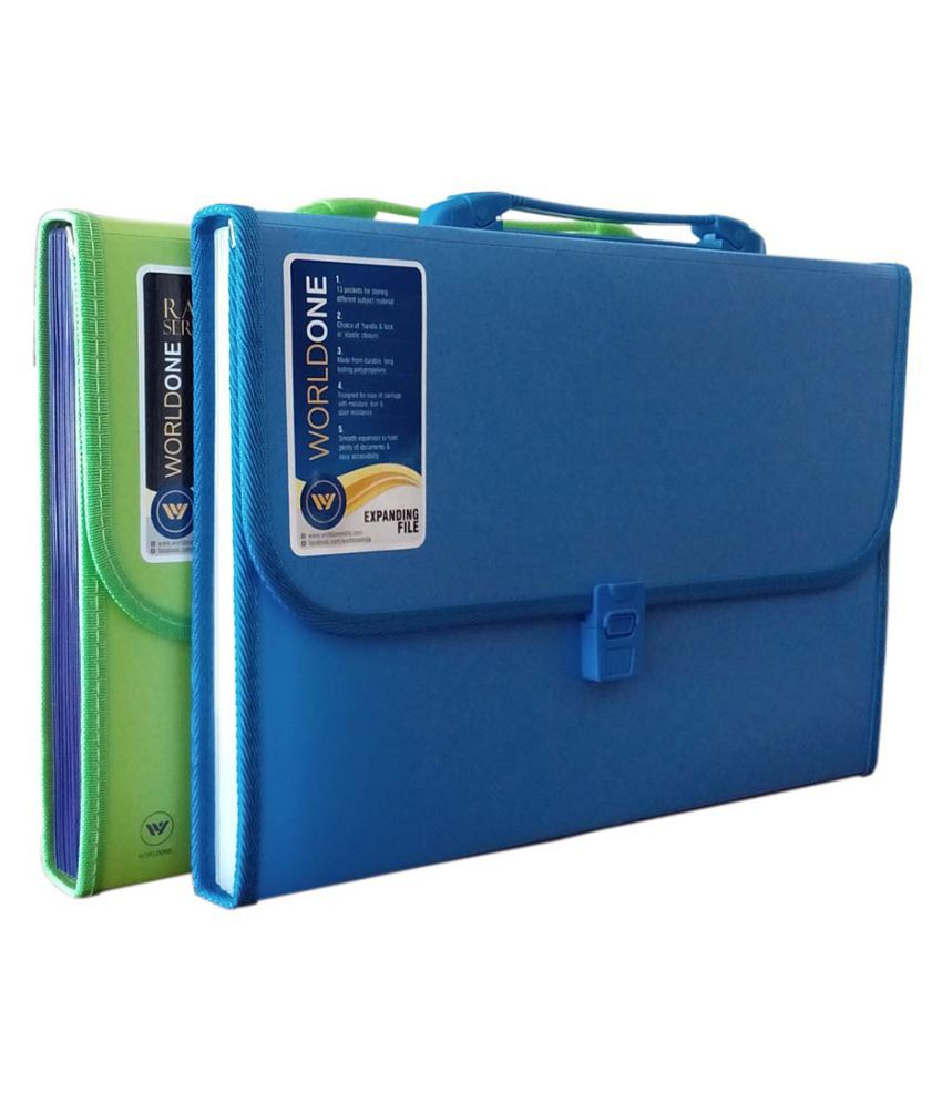 Worldone Expanding File 13 Pockets Set of 2
