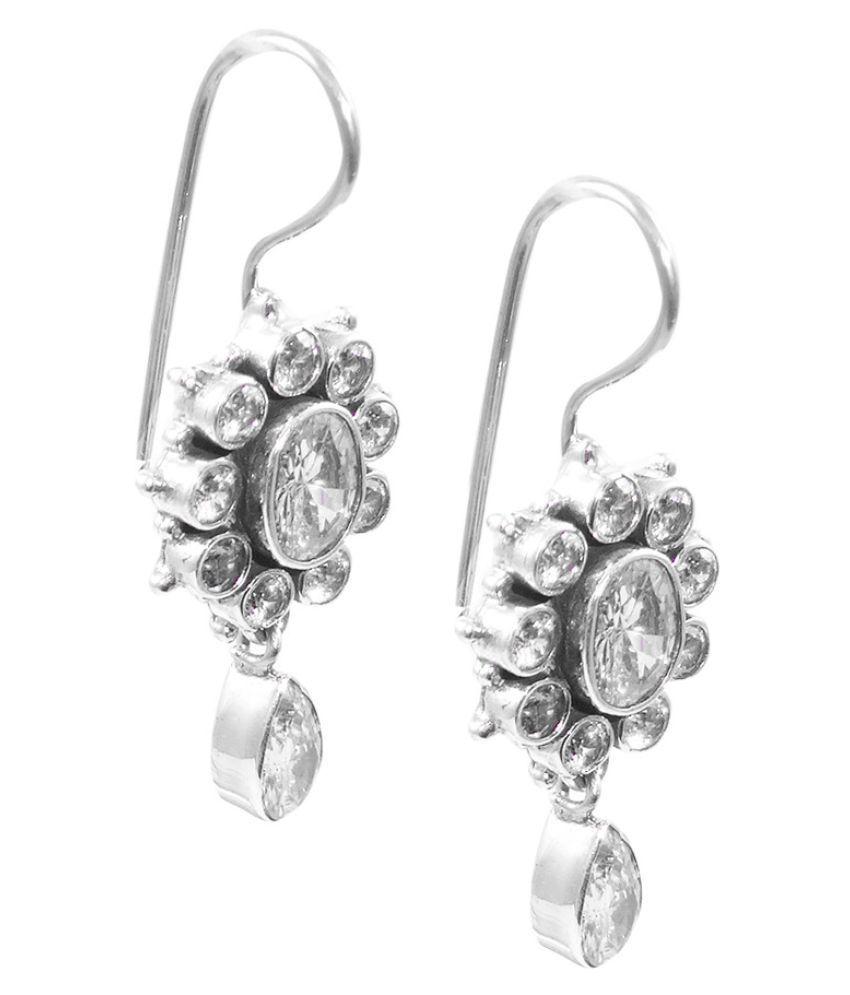 ELOTIC 92.5 Silver Cubic Zirconia Drop Earrings