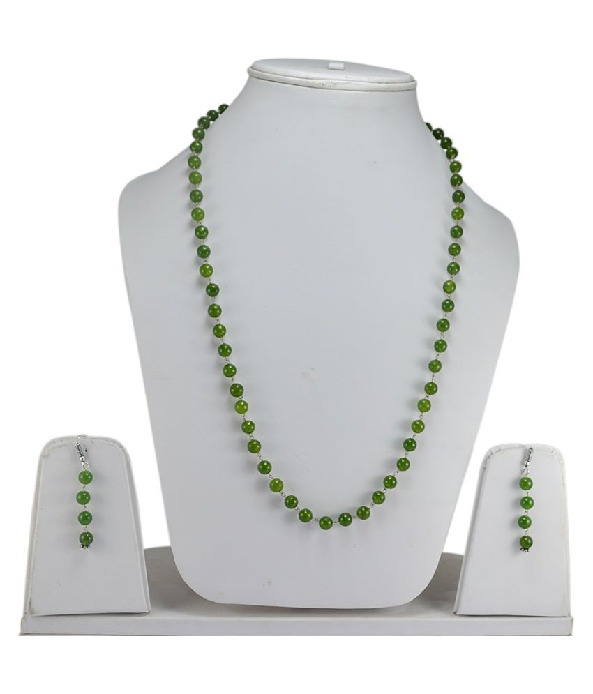 Silvesto India Olive Green Quartz Gemstone Necklace & Earring Set PG-127935