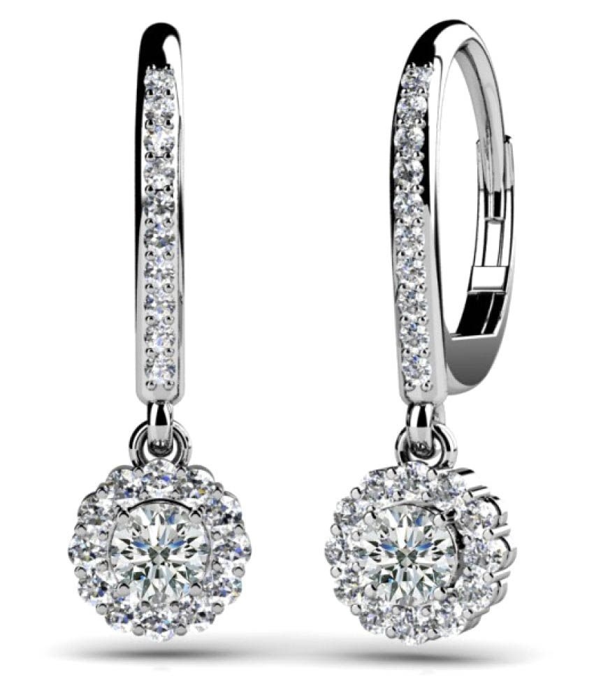 Naitik Jewels 92.5 Silver Cubic zirconia Drop Earrings