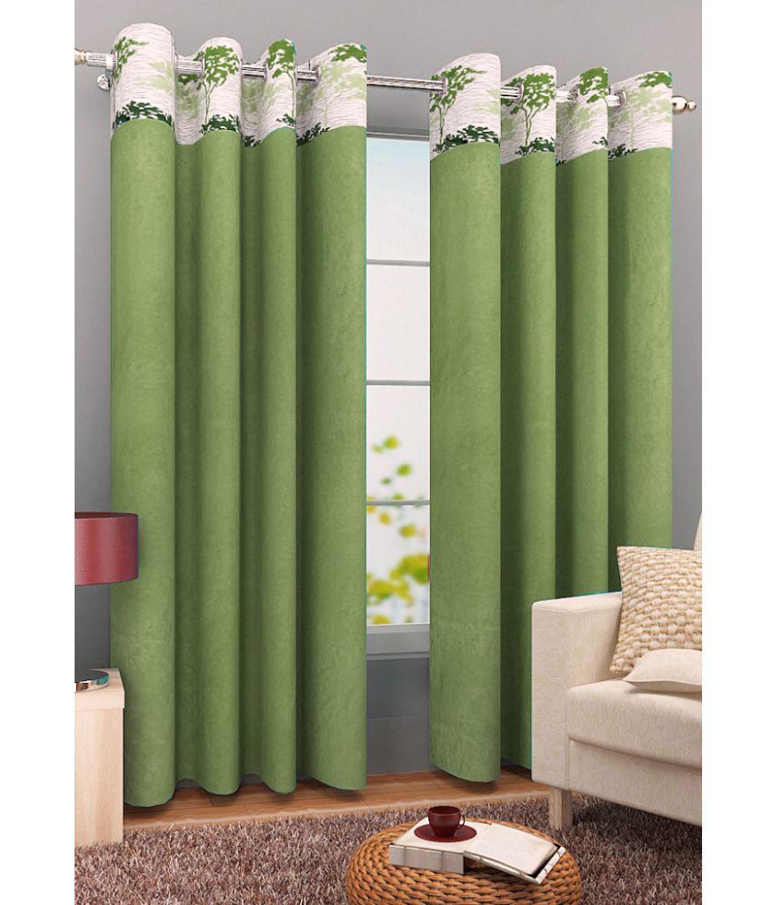 Homefab India Set of 2 Window Eyelet Curtains Plain Green