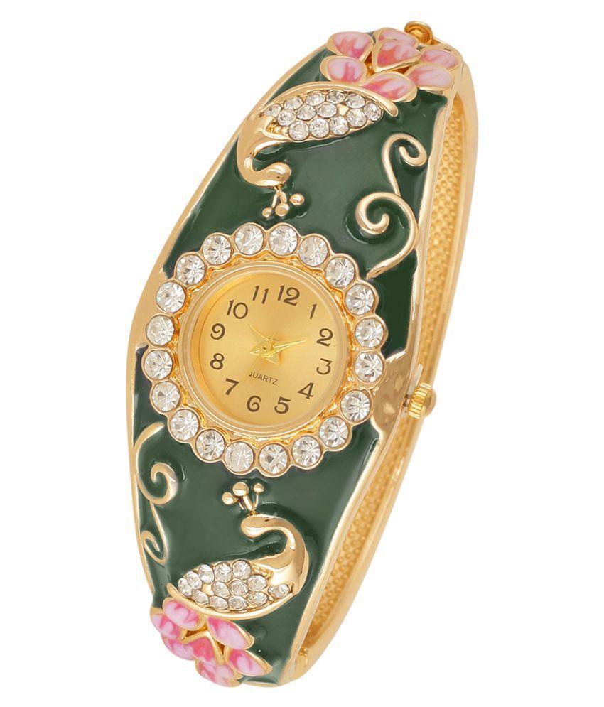 Jewels Galaxy Exclusive Green Enamel AD  Mayur Designer Stunning Charm Bracelet For Women/Girls