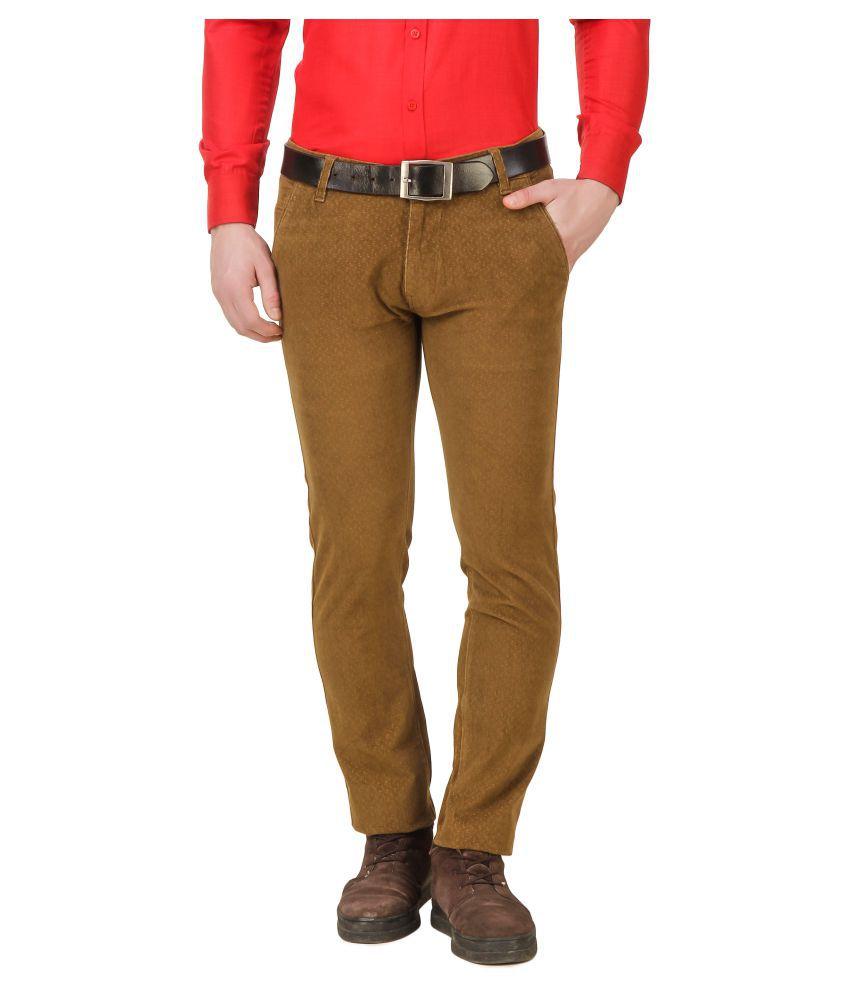 DANZRUS Brown Slim -Fit Flat Trousers