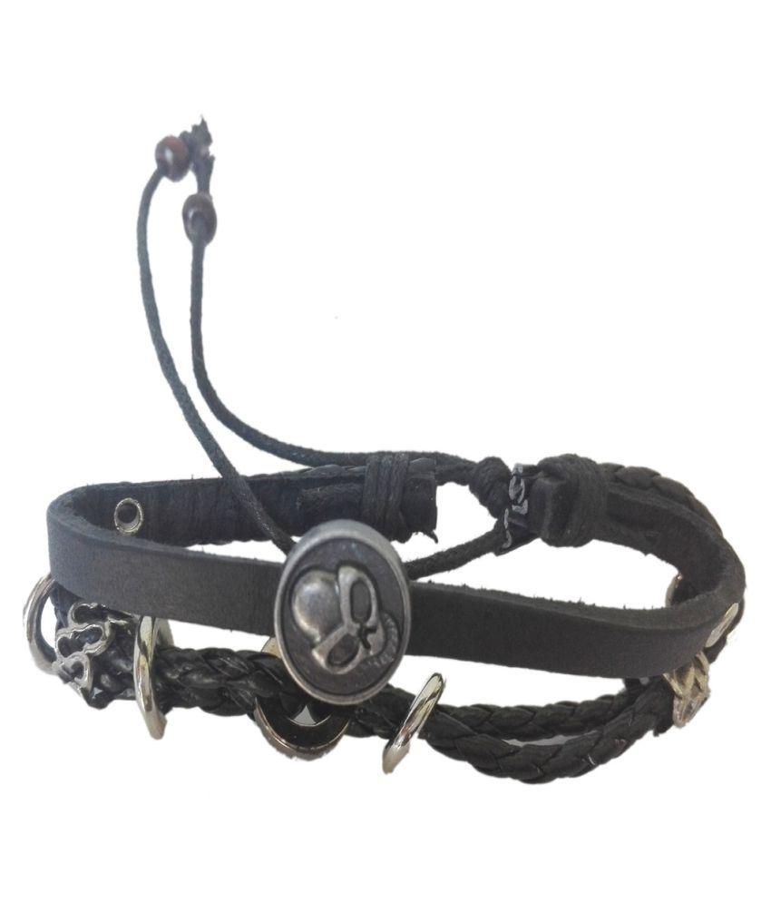 Style On Black Color Leather Bracelet For Mens & Boys