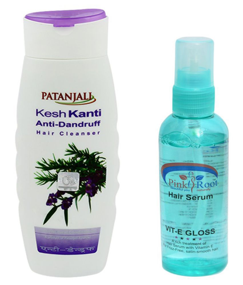 Patanjali KeshKanti Anti Dandruff Shampoo 200ml and Pink Root Hair Serum 100ml Pack of 2