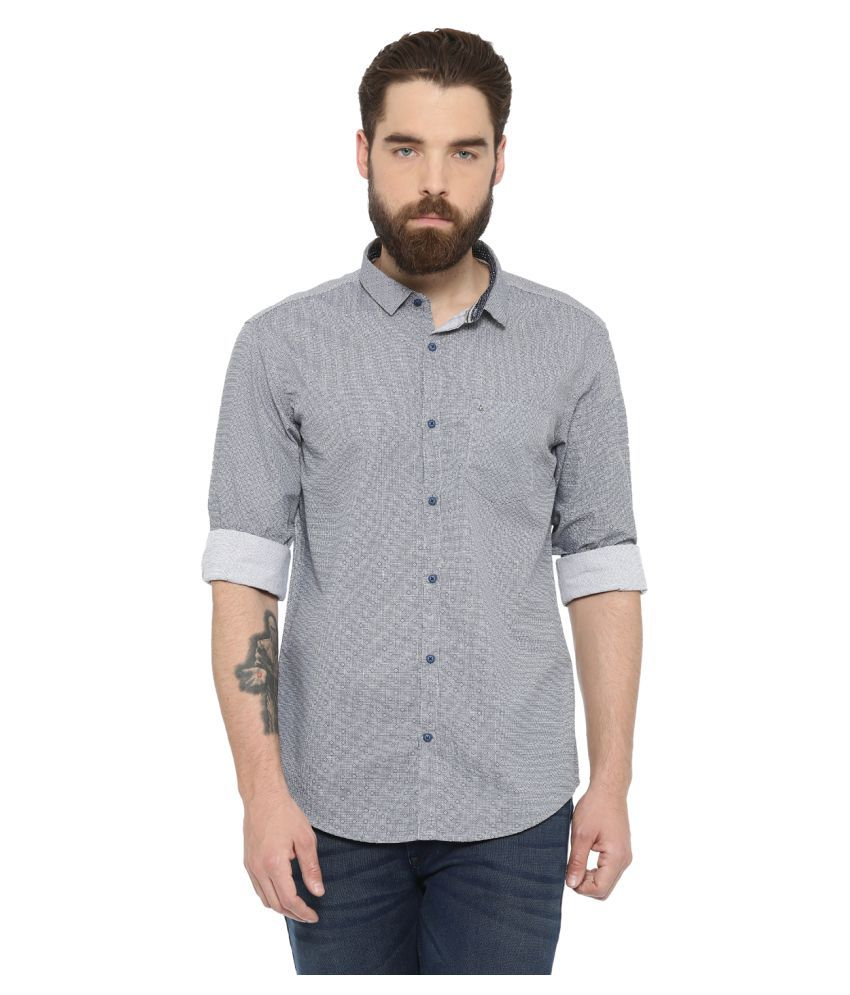 WITH Grey Casual Slim Fit Shirt