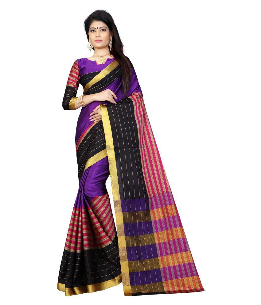 Welcome Fashion Purple and Brown Cotton Saree