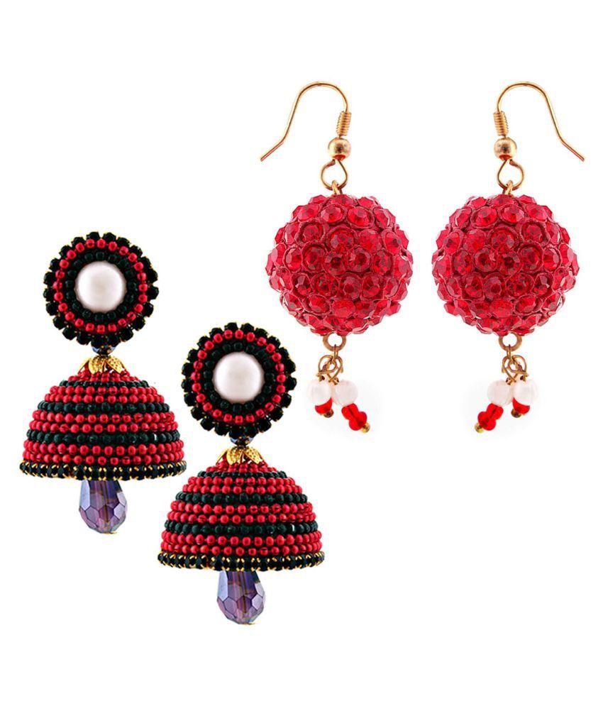 Rajrani Emporium Combo of Two Handmade Multicolor Jhumki