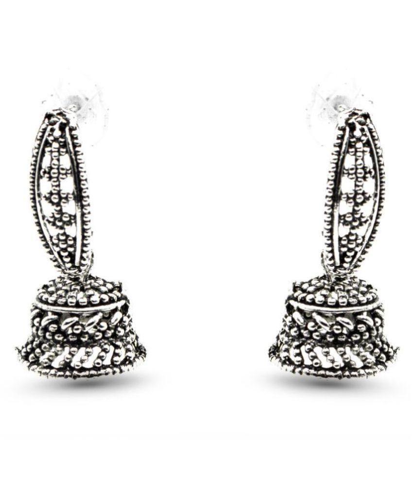 Three Shades Silver Jhumki Earrings