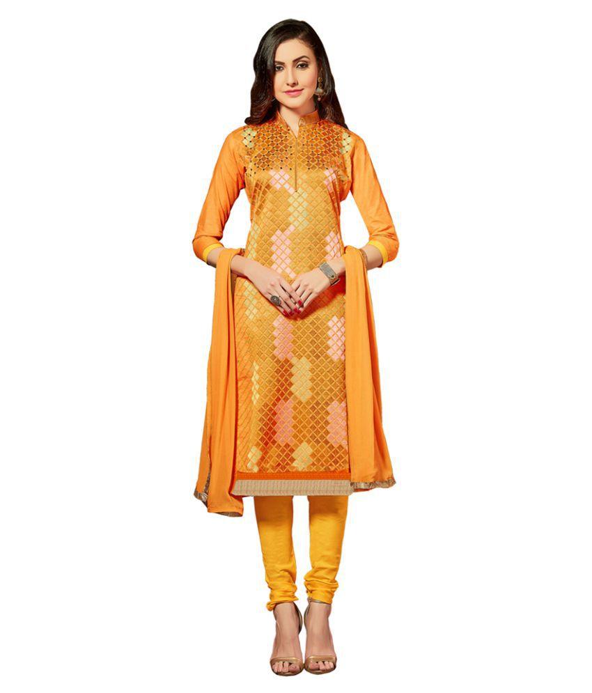JK apparels Yellow Cotton Dress Material